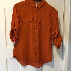 H & M Sheer orange, button down, blouse (6)